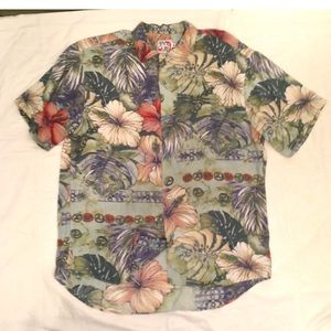 100% Rayon Hawaiian Flower Green Shirt Mens Med